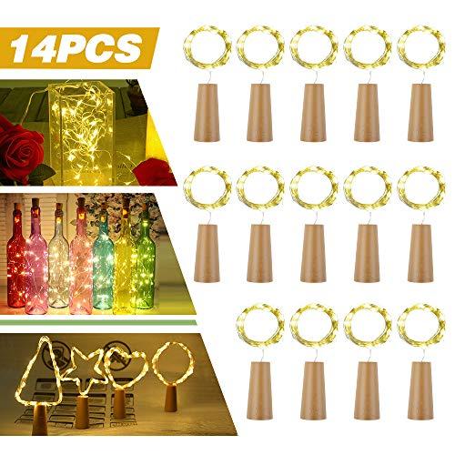 14x 20 LED Flaschen-Licht, Flaschenlichter Weinflasche Flaschenlicht Kork Flaschen Licht LED Lichter Lichterkette Flaschen DIY- Flaschen Lichter für Hochzeit Party Romantische Deko - [ Warm-weiß]