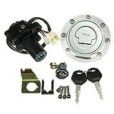 GOZAR Zündschalter Sitz Sperre Kraftstoff Gaskappen-Schlüsselsatz Für Yamaha YZF R1 R6 2001-2012