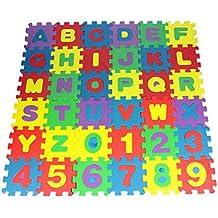 Alfombra Infantil De Puzzle Paellaesp 36 Piezas Desmontables Manta De Espuma Gigante De Suelo ,26 Alfabeto y 10 Números Niños Mat ,12 x 12 cm/PCS,72 x 72cm/36PCS