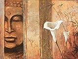 Artland Original Ölgemälde Unikat auf Leinwand von Hand gemalt auf Holz-Rahmen gespannt A. S. Wahrnehmung Fantasy & Mythologie Religion Buddhismus Malerei Braun 60 x 80 x 2,8 cm A0LT