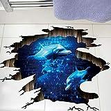 Zyzdsd 3D Dunkelblau Traum Delfin Bodenaufkleber Badezimmer Wohnzimmer Boden Dekoration Wandbild Wandaufkleber Wohnkultur Aufkleber Tapete