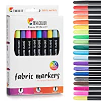 20 Zenacolor Textile and Cloth Markers - Non-Toxic, Indelible and Permanent Fine Point Markers - Ideal for T-shirts, Baby Clothes, Shoes, Bags, Tote Bags, and Other Types of Fabric