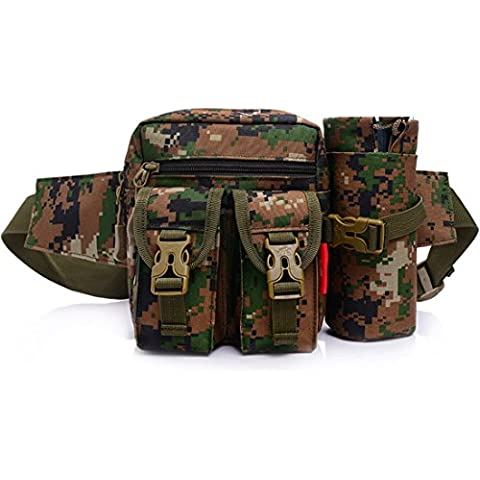 Tactical marsupio cintura porta borraccia staccabile Outdoor Waistpacks attrezzature militari Gear da viaggio per uomo e donna, mimetico giungla