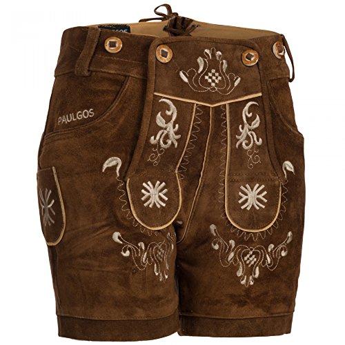 PAULGOS Damen Trachten Lederhose + Träger, Echtes Leder, Kurz in 8 Farben Gr. 34-50 M3, Damen Größe:36, Farbe:Hellbraun