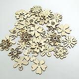 Sharplace 50 Stück Holzherzen Holz Verzierung für Hochheitsdeko Tischdeko Streudeko DIY Handwerk - Blume Formen - 2