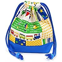 Preisvergleich für Being shaken drawstring Gokigen lunch (small size) with gusset bag cup Vehicles Happy Travel (yellow) x Ox blue made in Japan N3563500 (japan import)
