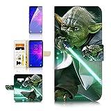 (pour Samsung Note 9, Galaxy Note 9) Portefeuille Flip Coque Protecteur d'écran et Bundle–A21333Starwars Yoda