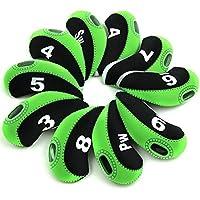 FLTRAD - Fundas elásticas de neopreno reutilizadas para cabezas de palos de golf (3 - 9 A/SW/PW), con etiqueta de número (10 unidades, 6 colores a elegir), Black + Green