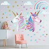 3 Feuilles Stickers Autocollants Muraux Licorne, Décoration Murale Arc-en-Ciel de Grande Taille avec Licorne pour Filles Enfants Chambre d'Enfant Décoration de Fête d'Anniversaire de Noël