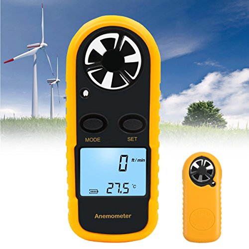 TuToy Digital Lcd Anemometer Thermometer Air Wind Speed Meter Temperature Tester