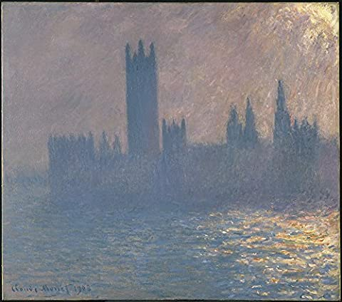 Claude Monet - Houses of Parliament Sunlight Effect - Extra Large - Archival Matte - Black Frame