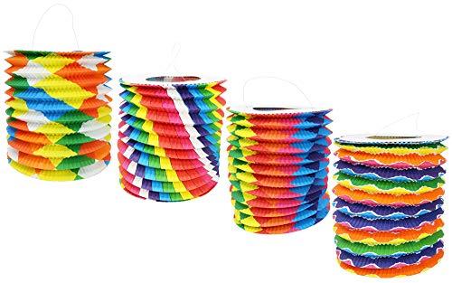 com-four® Lanterne COM-fourigeuse 4X avec Motifs colorés - Lanterne en Papier pour Saint-Martin et Halloween - Lanterne Martins pour Enfants (004 pièces - Cylindre coloré)
