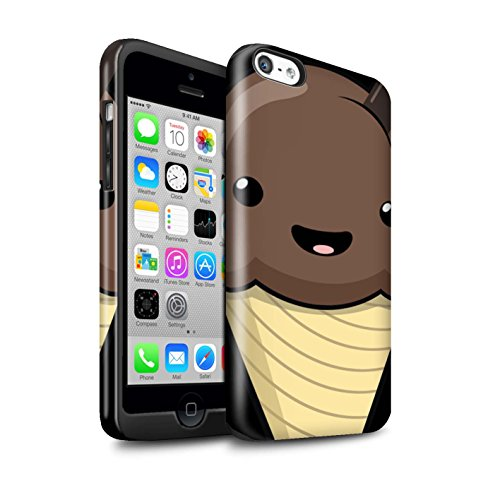 Coque Brillant Robuste Antichoc de STUFF4 / Coque pour Apple iPhone SE / Pomme Design / Alimentaire Kawaii Collection Glace Chocolat