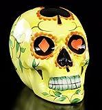 Mexikanischer Totenkopf - Keramik gelb - Deko Figur bunt