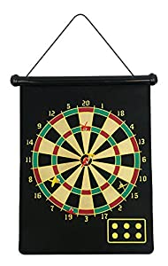 fusion Magnetic Dartboard Roll Up with 6 Magnet Darts Double Sided Kids Dart Board Game