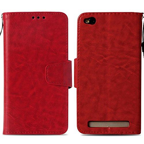 Ooboom Xiaomi Redmi 4A Hülle Retro Magnetisch Flip Folio PU Leder Schutzhülle Tasche Case Cover Stand mit Kartenfächer Kartenfach Trageschlaufe für Xiaomi Redmi 4A - Rot