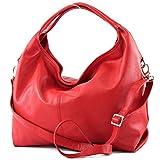 modamoda de - ital Damenhandtasche aus Nappaleder DS26, Farbe:Rot