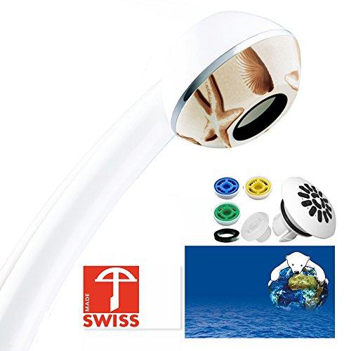 Druckerhöhendes Wasserspar-Duschkopf-Set PLAYA: Duschbrause mit kräftigem Strahl (auch bei tiefem Leitungsdruck, zB aus Durchlauferhitzer), kalkfrei, hygienisch, 3 Mengenregler für 4 Durchflussmengen, Aufsatz für weichen Regenstrahl; Made in Switzerland d