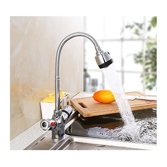 TOTAL HOME 360 Degree Water Bubbler Swivel Flexible Softy with Double Flow Sink Tap , 20 Inch, Silver
