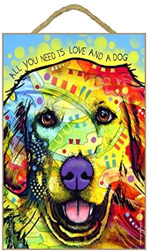Golden Retriever–All you Need Is Love and a Dog 7x 10.5Holz Plakette/Schild mit Das Artwork von Dean - Dean Artwork Russo