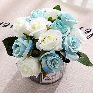 FCL RAN Craze – Flores artificiales de seda para ramo de boda, arreglos florales 5 colores, 12 rosas por paquete (blanco…