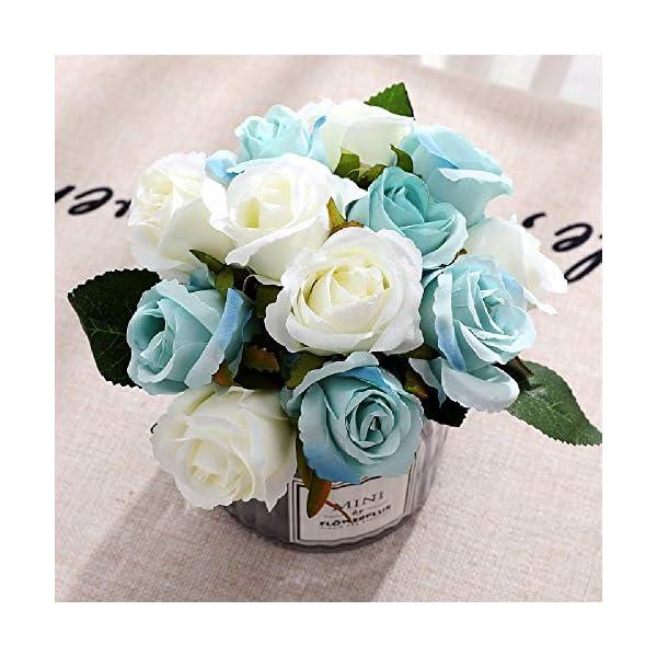 FCL RAN Rosas Artificiales de Seda para Ramo de Boda, arreglos Florales, 5 Colores, 12 Rosas por Caja