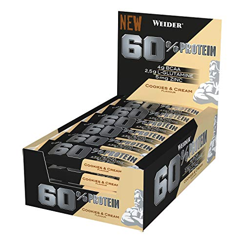 Weider 60% Protein Bar Cookies & Cream 24 x 45 gr. La barrita con más proteína del mercado. Con 4 g de BCAAs por barrita.