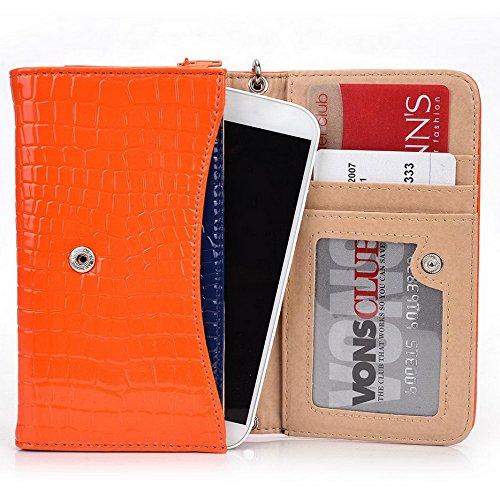 Kroo Croco Étui portefeuille universel pour smartphone avec bracelet pour SHUKAN A500/Q470Mobile noir - noir Orange - orange