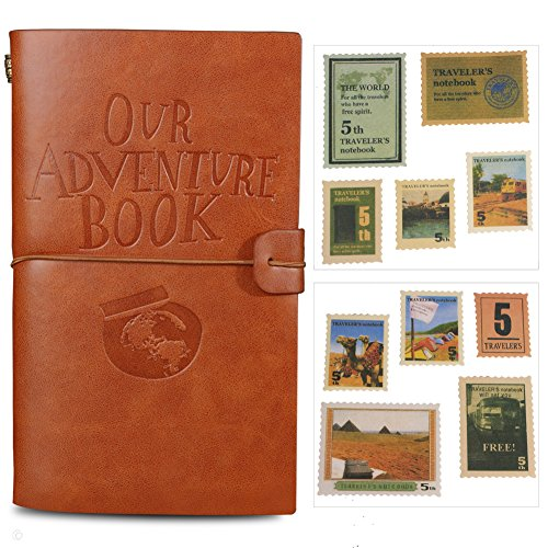 Our Adventure Book Journal Refillable Notebook Leather Notepad Travel Diary Daily Planner With 18 Card Slots and 18 Stamps and 1 Zipper Pocket, Personalized Gift for Teachers Students Men Women (Brown)