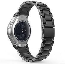 Samsung Gear S2 Sport Bracelet, MoKo remplacement de bracelet sportif Bande de Remplacement en Acier Inoxydable avec Bouton Poussoir Fermoir Caché pour Samsung Gear S2 Sport Montre connectée, Noir