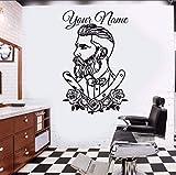 Xzfddn Friseur Wandtattoo Tattoo Hipster Personalisierte Namen Wandaufkleber Mann Salon Decals Barber Shop Abnehmbare Fenster Poster