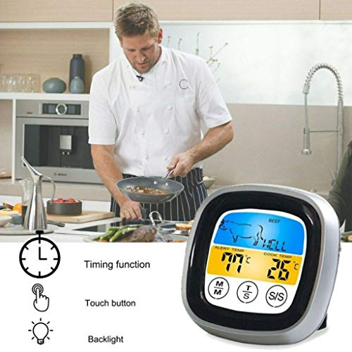 Wokee Barbecue Funk Grillthermometer BBQ Thermometer Mit 6 Sonden Bluetooth Kochen Led Timer für BBQ, Ofen und Grills -