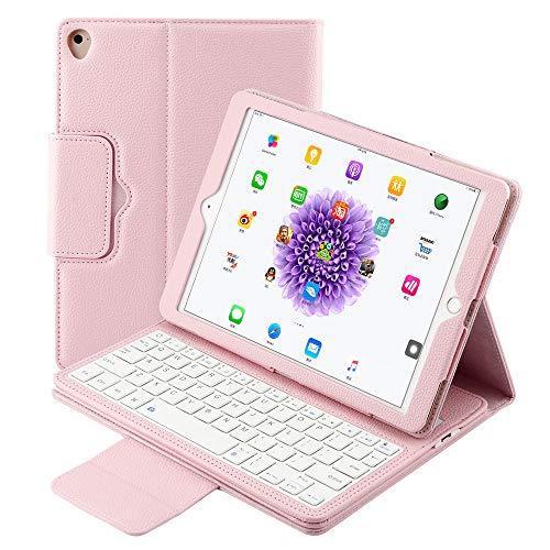 iPad Tastatur Hülle 9.7 für iPad 6. 2018/iPad Pro 5. Generation 2017 Leder Ständer Durable Abnehmbare Magnetische Smart Cover Auto Sleep Wake Wireless Bluetooth Tastatur kompatibel iPad Air 2/1 Rose