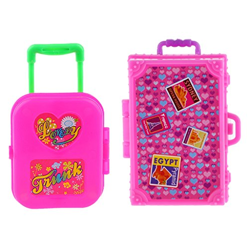 gen¨¦rico Sharplace 2pcs Linda Maleta Plástico Caja de Equipaje para Accesorios de Viaje de Muñeca Barbie