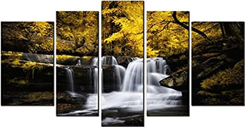 OBELLA New Wall Art Canvas Prints 5 Pieces ++Waterfall in Autumn ++ Framed With Inner Frames, Ready to Hang - 5 Panel Canvas Wall Art Multipart Canvas - Wall Art Picture, Canvas Picture, Decorative Picture Modern Contemporary Posters Oil Paintings Prints and Pictures Photo Image Wall Art Prints on Canvas for Home Bedroom Living Room Office Wall Decor Christmas Gifts