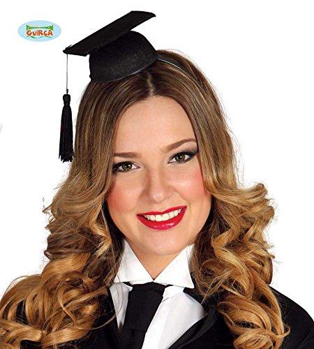 Guirca Schwarzer Mini Doktorhut auf Einem Haarreif für Erwachsene