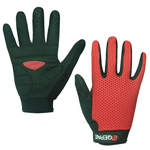 Lerway Anti-Rutsch Outdoor Hände Handschuhe Breath Weich Vollfinger MTB Handschuh Fahrradhandschuhe für Radfahren,Fahrrad Sports (Rot, L)