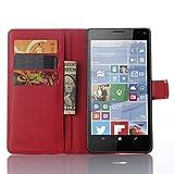 Tasche für Nokia Microsoft Lumia 950 XL Hülle, Ycloud PU Ledertasche Flip Cover Wallet Case Handyhülle mit Stand Function Credit Card Slots Bookstyle Purse Design rote