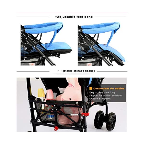 JIAX Foldable Baby Stroller,Travel System with Baby Basket Anti- Newborn Baby Pushchair Adjustable High View Pram Travel System Infant Carriage Pushchair (Color : Blue) JIAX ✤FUNCTION: The stroller can be used as a bed for babies aged 0-6 months. In addition, it can be replaced with a seat suitable for children aged 7-36 months. ✤GLOWING POINT: Only one step for braking or releasing the stroller, firm, wear-resistant, comfortable cushion, sitting mode, half-lay mode, flat-lay mode ✤MORE FEATURES: high enough to protect your baby from dust, can be paired with a dining table like a chair, and the canopy can be adjusted according to the weather 6