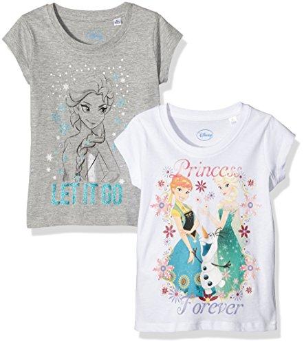 TV Mania Mädchen T-Shirt Disney FROZEN 2er Pack, Mehrfarbig (Greymelange + White Greymelange + White), 116 (Herstellergröße: 110/116)
