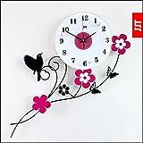 Aves de jardin creativo reloj de pared moderno salon de moda reloj reloj reloj reloj de cuarzo reloj de pared del arte mudo