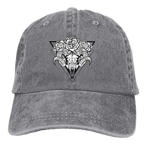 Sox Tattoo (Wfispiy Rose Tattoo Skull Sheep Horns Verstellbare Gewaschene Vintage Baseballmützen Trucker Hat)