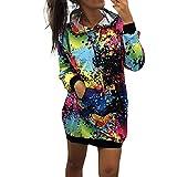 SEWORLD Mantel Sweatshirt Krawatte im Freien Damen Langarm Warmer Färben Drucken Hoodie mit Kapuze Kapuzen Mantel Bluse Tops für Winter/Herbst/Frühling(X1-schwarz,EU-38/CN-M)