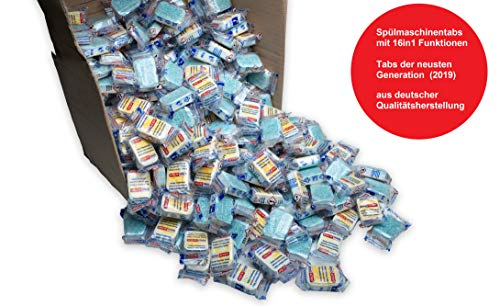 10 kg (500 Stück) Spülmaschinentabs 16 in 1 - Tabs der neusten Generation, Taps in normaler Folie,A-Ware (kein Bruch), deutsche Markenware für jede Spülmaschine geeignet