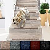 casa pura Textilfaser - Stufenmatten für attraktive & sichere Treppenstufen | Set mit 15 Stück | robuste Allzweck-Matten für Stufen | verschiedene Farben (beige)