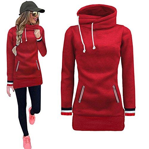 Hoodie Pullover Damen Sweatshirt Langarmshirt Bluse FGHYH Frauen-Lange Hülsen-Blusen-Strickjacke-Sweatshirt-Pullover-Oberseiten(XL, rot)