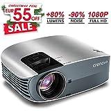 Proiettore Full hd, Crenova LED Videoproiettore 3500 Lumen, con AV/VGA/USB/HDMI/TF, Connessione a TV Stick / Chromecast