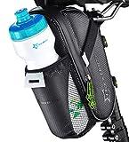 RockBros Fahrrad Satteltasche mit Flaschenhalter für MTB + Rennrad + Crossbike oder Trekkingbike - qualitativ hochwertig verarbeitete Fahrradtasche - wasserdicht aus Nylon mit Klettverschluss im schwarzen Carbon-Look - Netztasche für Trinkflasche mit reflektierender Laschenhalterung für z.B. LED Mini-Silikonlicht