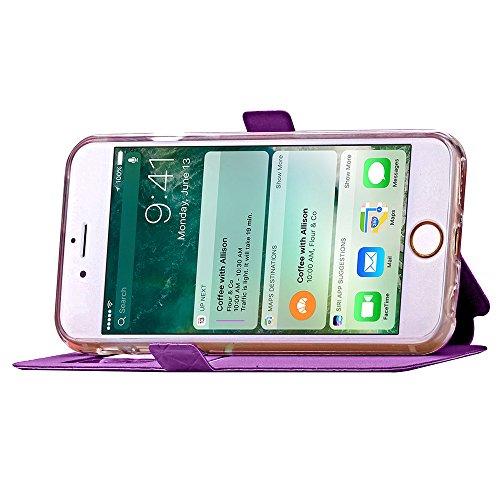 iPhone 7 Plus Handycover, TOTOOSE für iPhone 7 Plus Rhombus Grid Pattern Ultra dünn PU Leder Hülle mit View Windows Flip Stand Funktion Weiches TPU Silikon Abdeckung Schützend Schale Schwarz Lila