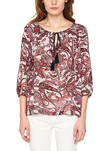 s.Oliver BLACK LABEL Damen Regular Fit Bluse mit Paisleyprint Weiß (white 01A4)